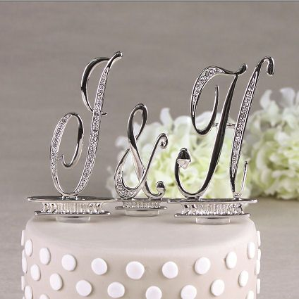 Crystal and Silver Monogram Letters in 2 Sizes - Monogram Wedding Cake Toppers - Cake Top Letters
