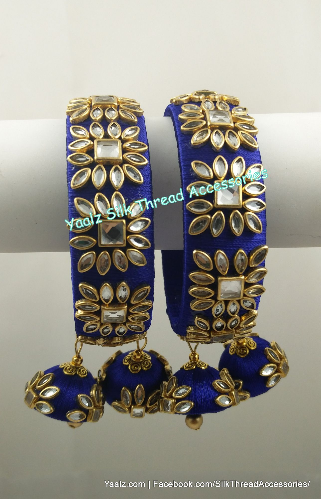 49f2e344b Yaalz Kundan Stone Work Bangle Set In Royal Blue Color !! Price Rs.700 Per  Pair For Orders Ping us In WhatsApp +91 8754032250