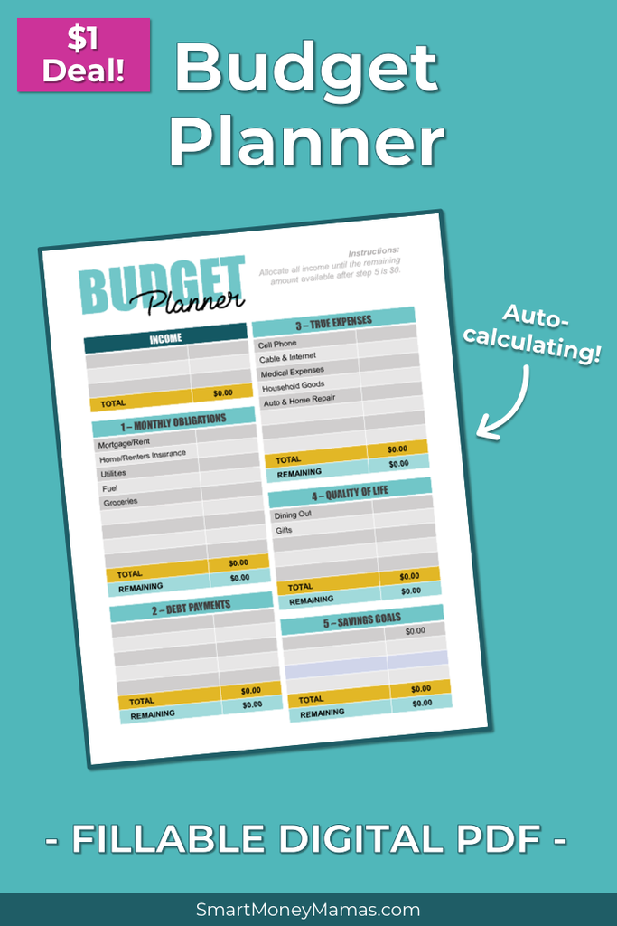 Monthly Budget Planner Fillable Auto Calculating Pdf Budget Planner Monthly Budget Planner Budgeting