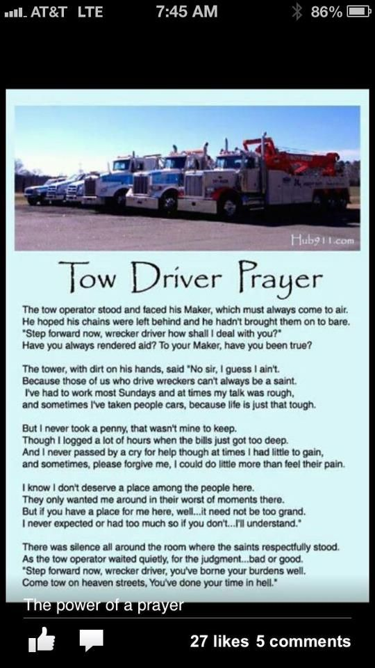 Tow Driver Prayer | Respect & Protect Towing Technicians