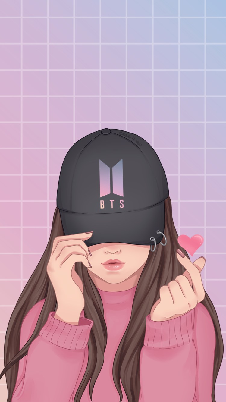 Taustakuva Bts Love Bts Tapetti Iphone In 2020 Cute Love Wallpapers Girly Drawings Cute Girl Drawing