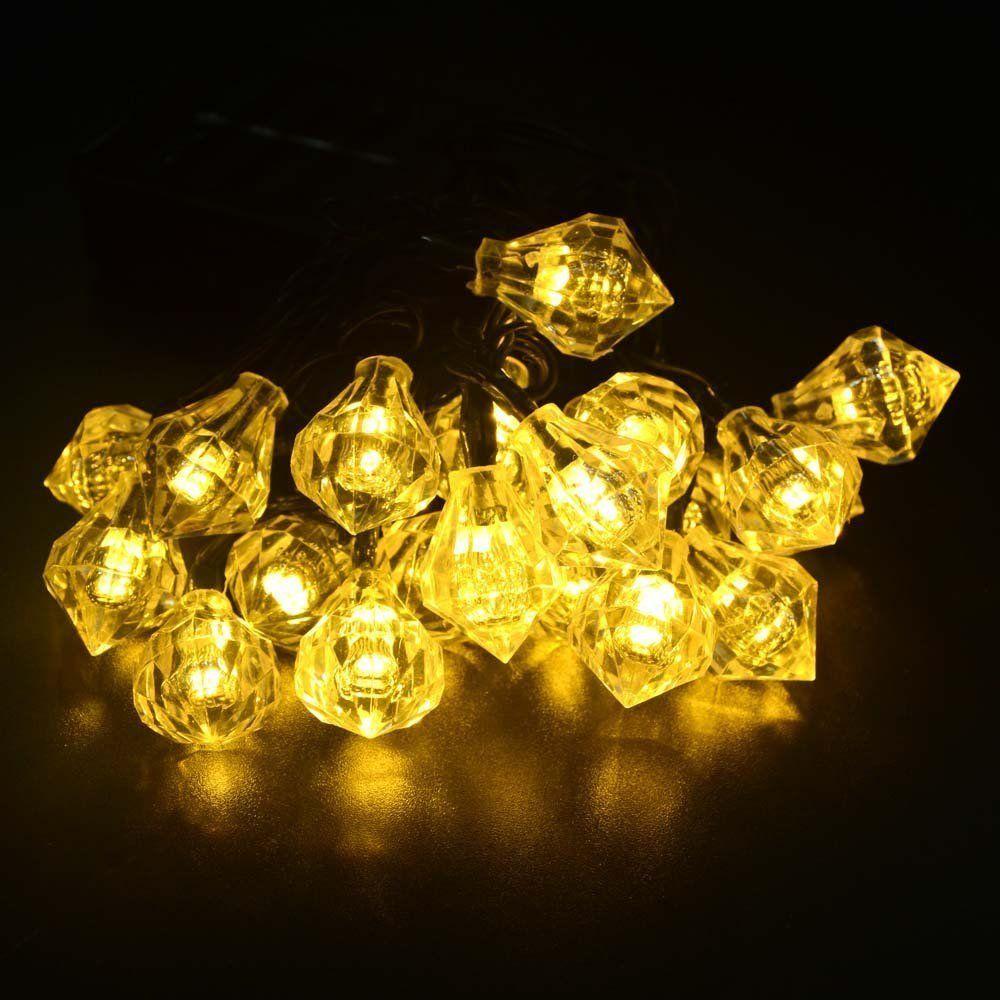 20ft 20LED Diamond Solar Fairy String Lights Decorative Lighting for ...
