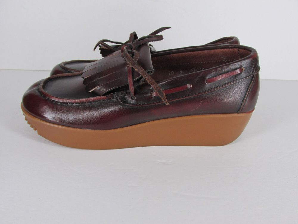 Vintage Bass Shoes 70's 100 Platform Shoes Womens 10 N Burgundy Leather #Bass #FlatsOxfords