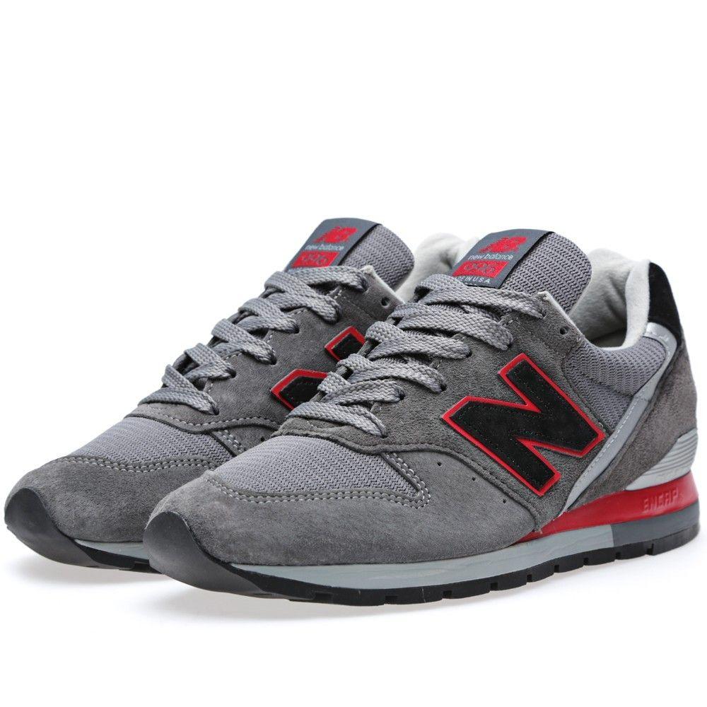 New Balance (NB) M996BSN Sneakers Heren Grijs Zwart & Rood ...