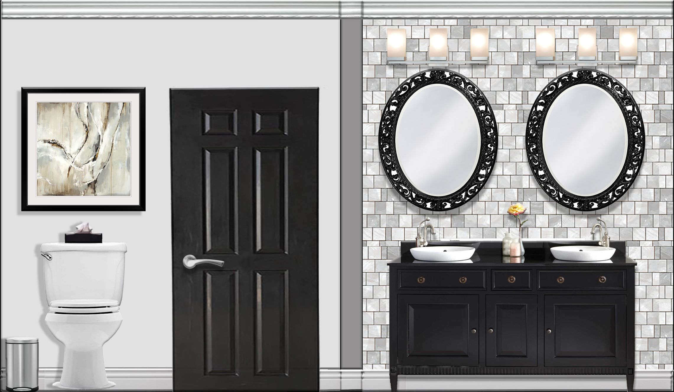 Bathroom Elevation Rendered In Photoshop Round Mirror Bathroom