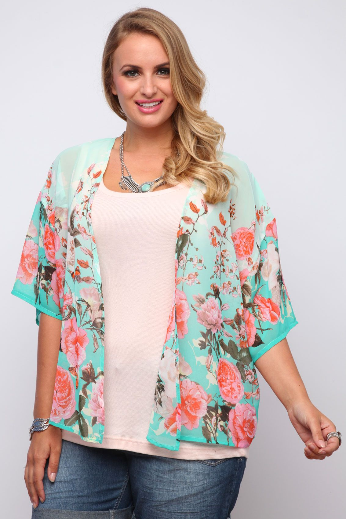 Mint And Coral Floral Rose Print Sheer Georgette Kimono Shrug | Florida | Pinterest | Kimonos ...