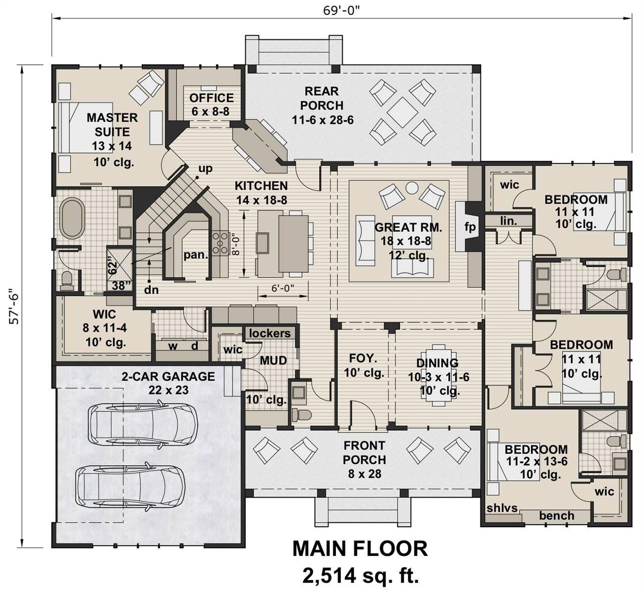 Plan 7205 1st Floor Plan Bungalow Floor Plans House Plans Bungalow House Plans