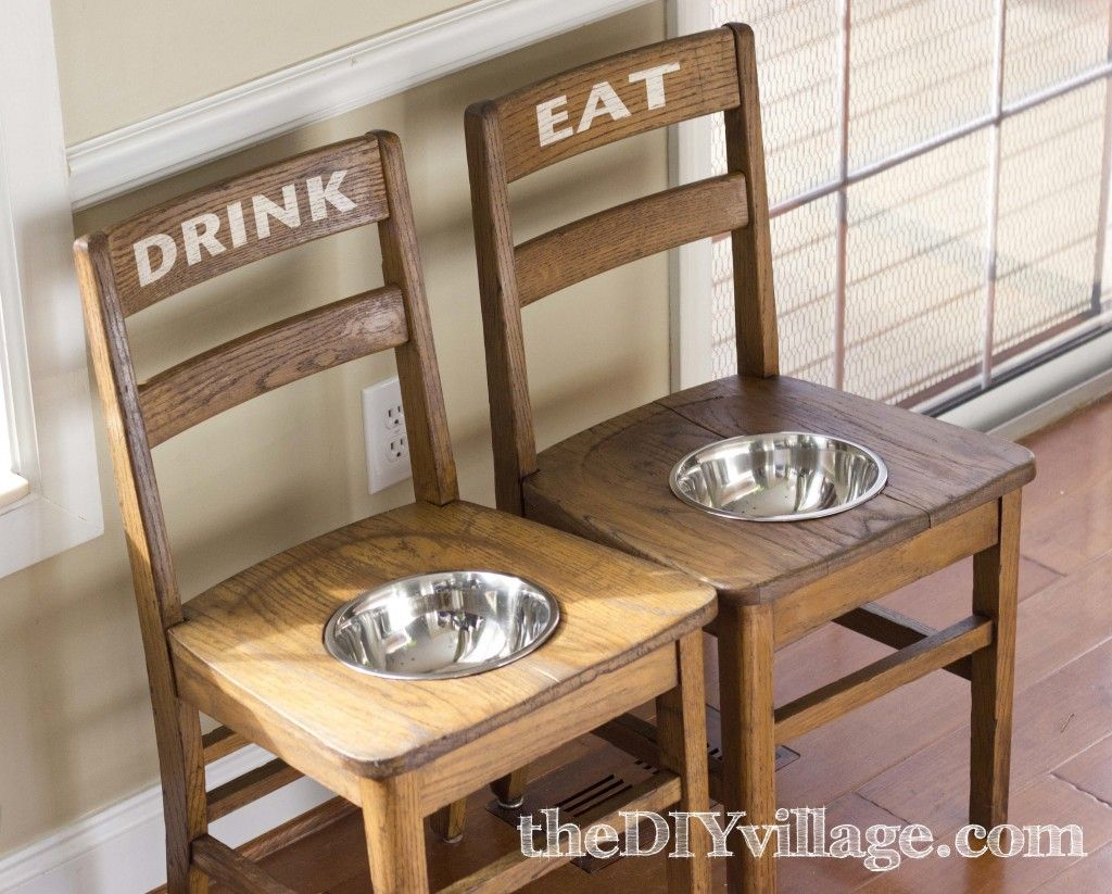 DIY Dog Bowl Chairs { Elevated Feeding Station | School chairs ...