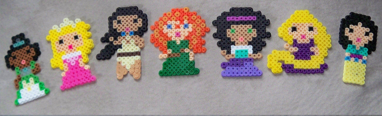 Princess Tiana, Sleeping Beauty, Pocahontas, Merida, Esmeralda, Rapunzel and Mulan perler fuse beads by Cindy Bell