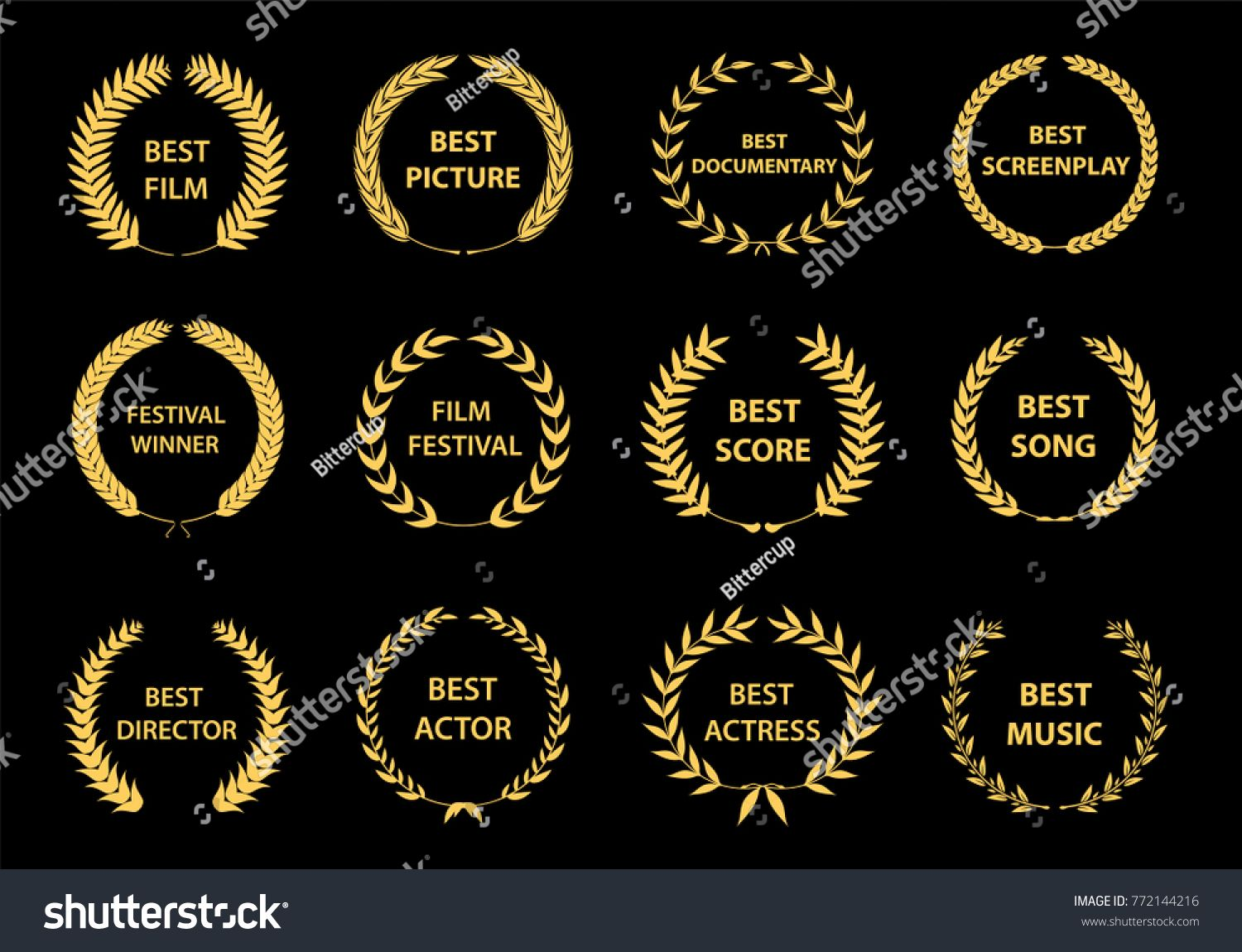 Set Of Gold Silhouette Film Award Wreaths On Black Background Vector Illustration Film Award Silhouette Set Film Awards Film Pictures Film