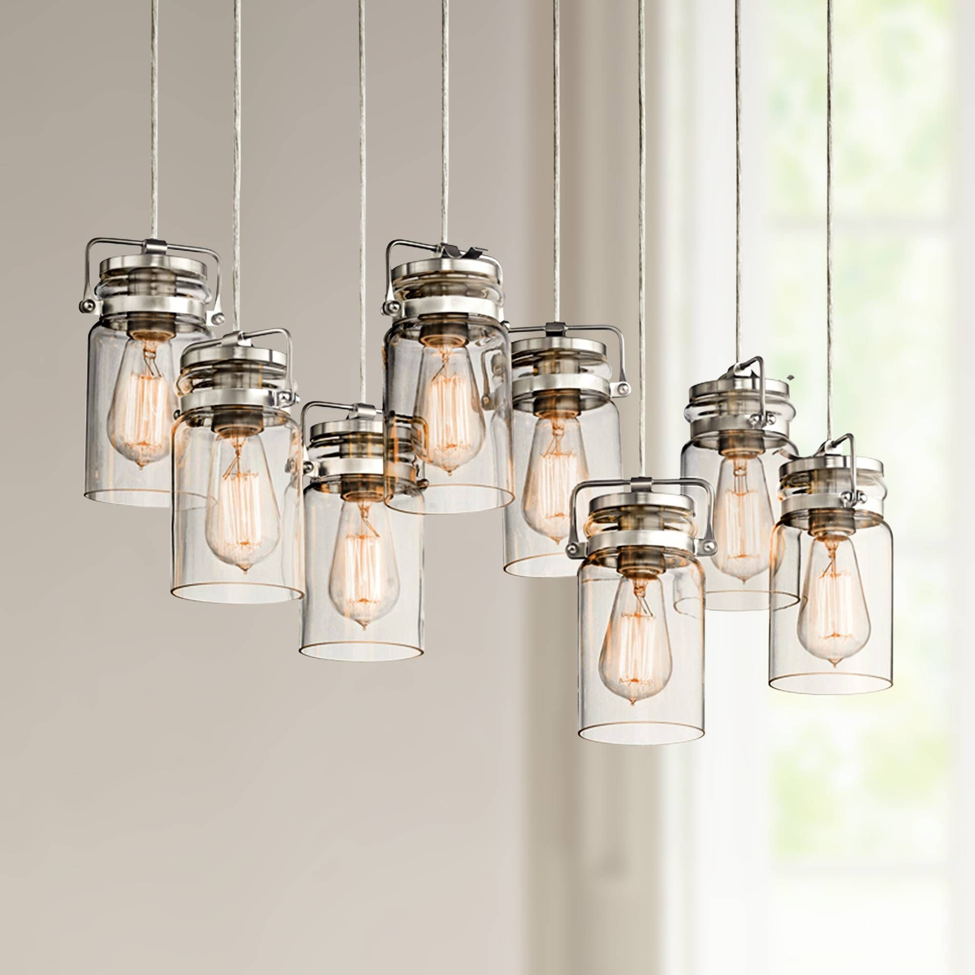 Eight glowing lights suspend from this spectacular