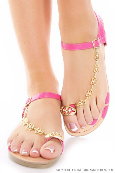 Fuchsia Faux Leather Floral Rhinestone Toe Ring Sandals -- OMG! They come in pink, too. *dies* Must get these! $13.99