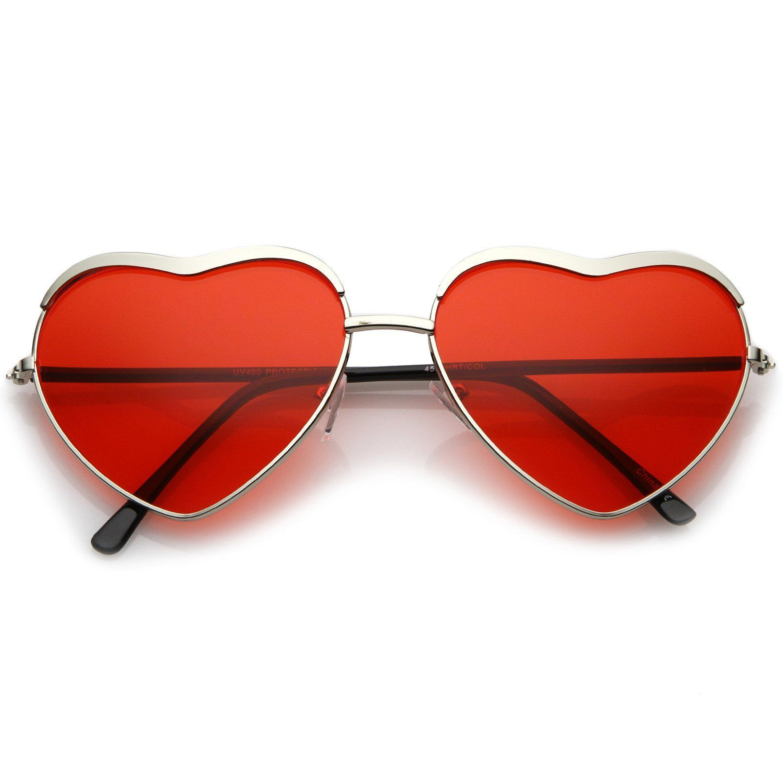 7f218fdfea9 Women s Oversize Metal Frame Slim Arms Tinted Lens Heart Sunglasses 61mm