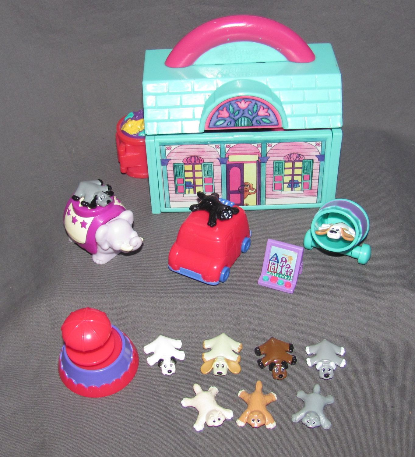 Vintage Pound Puppies Playset Small Scale Like Polly Pockets