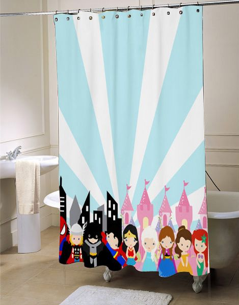 Superhero Princess Shower Curtain Pink Shower Curtains Princess