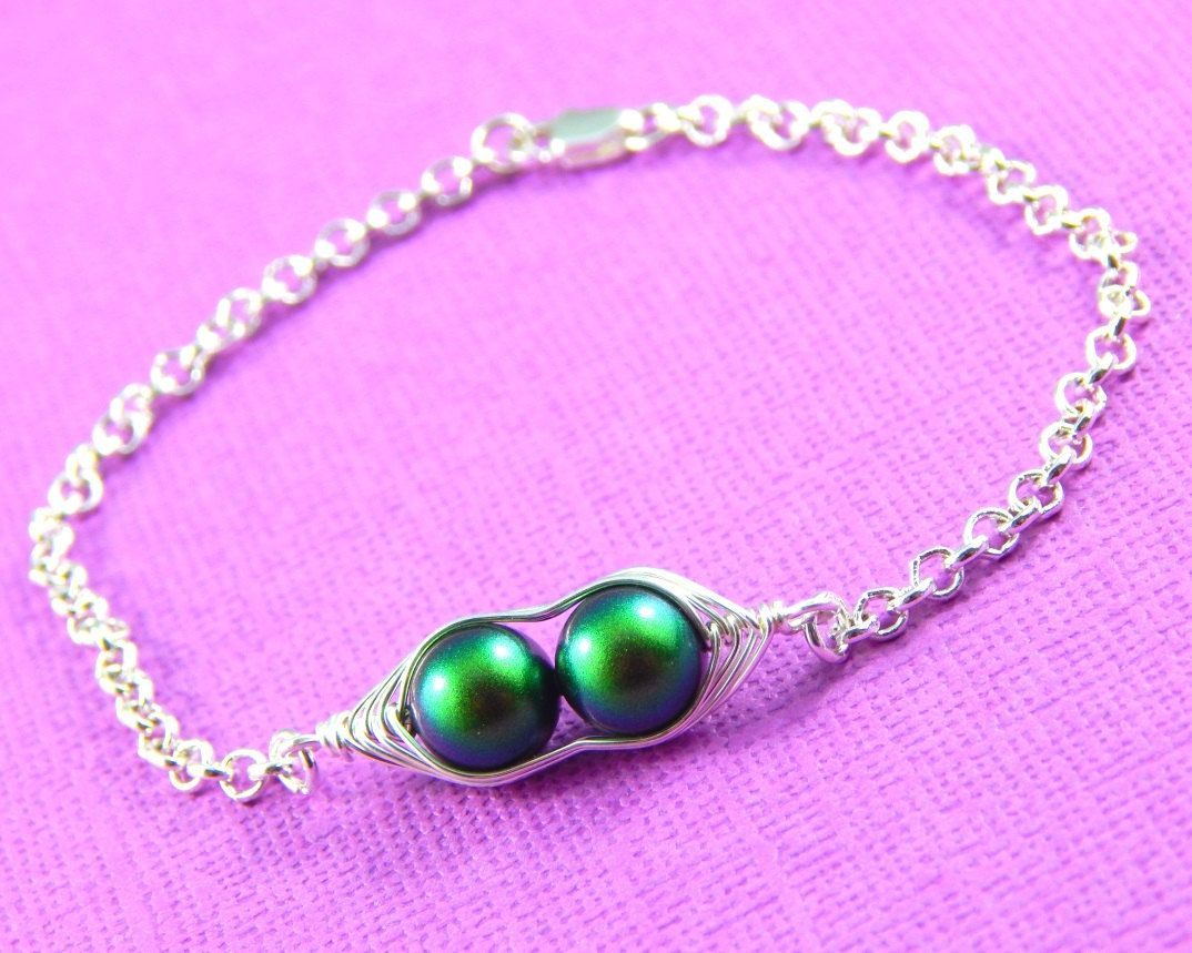 Pea Pod Bracelet Two Peas In A Silver Ed Best Friends Friendship Choose Your Color Pearls