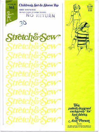 Stretch & Sew Pattern 861 ~ Children's Set-In Sleeve Top ~ Sizes 2-12