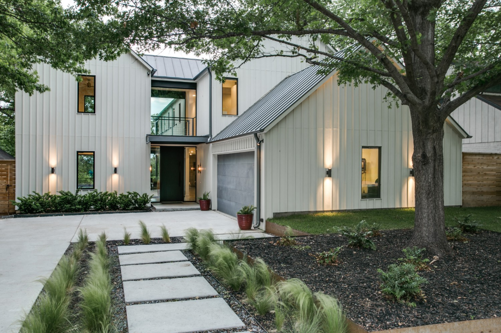 Decor Contemporary Home Exterior With Slate Gray Vertical Board And Batten Siding Wall And Fixed Window Plus Wall Sconces Light Decor Attractive Exterior Wall Design Using Board And Batten Siding #boardandbattenwall