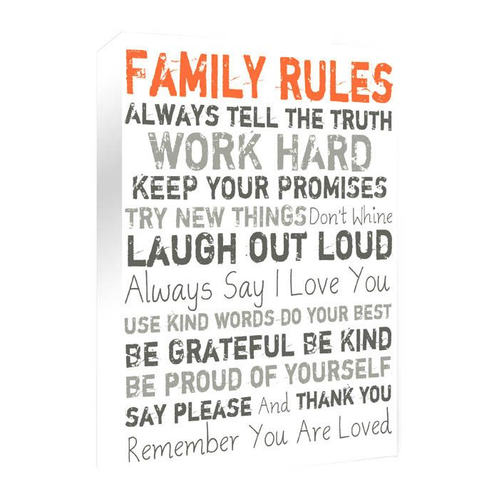 Family Rules Textual Art On Wrapped Canvas In Orange In 2020 Family Rules Inspirational Words Words
