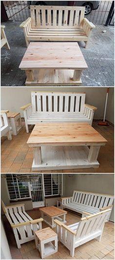 Wood Pallet Furniture Set | mueble con palet | Pinterest | Tarimas ...