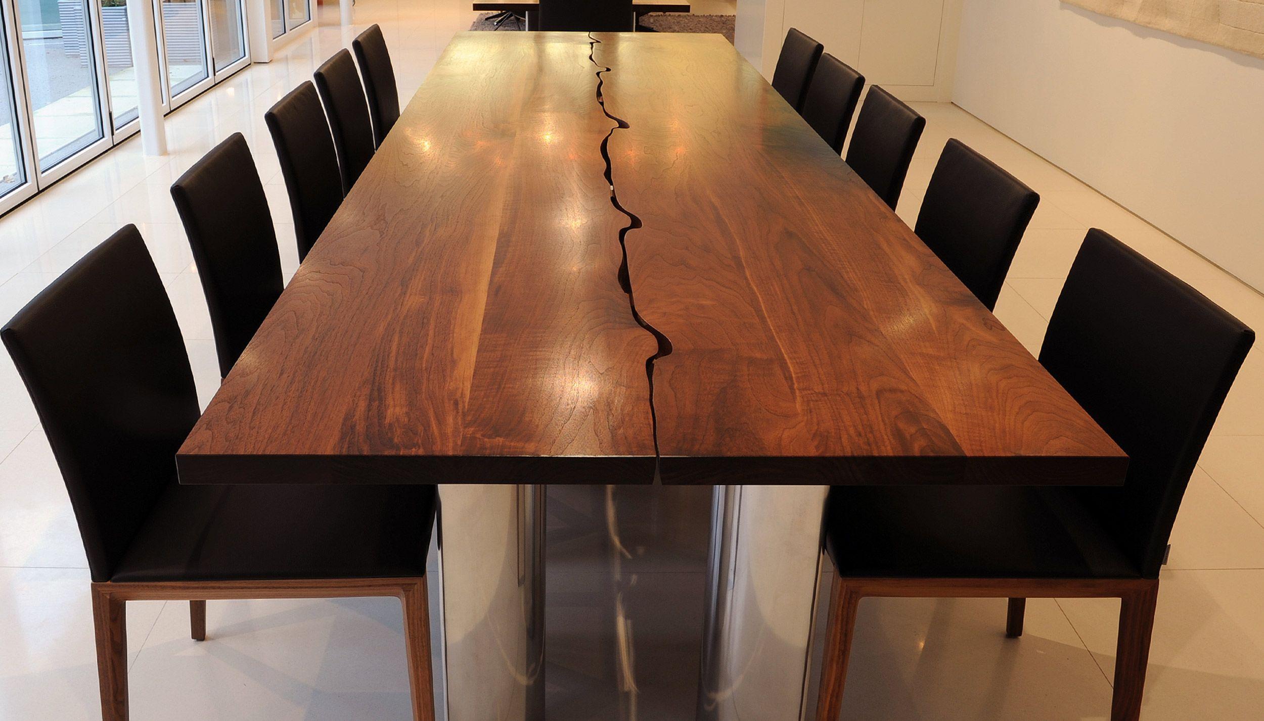 Modern Dining Table In Solid Walnut And Aluminium Tavolo Da