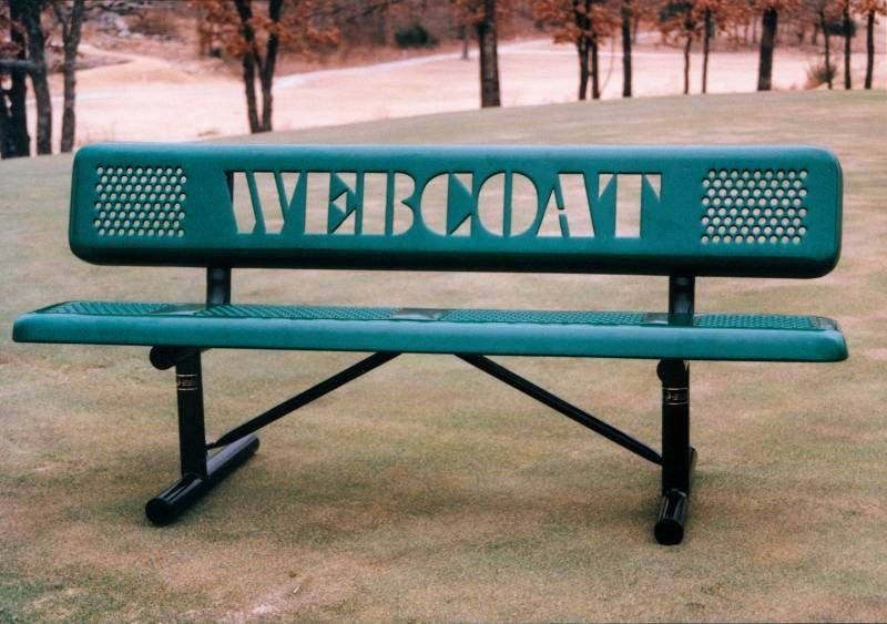The Perforated Steel Benches Can Also Be Customized With Your Organization S Name Or Logo Find The Right Bench At Steel Bench Outdoor Garden Furniture Bench