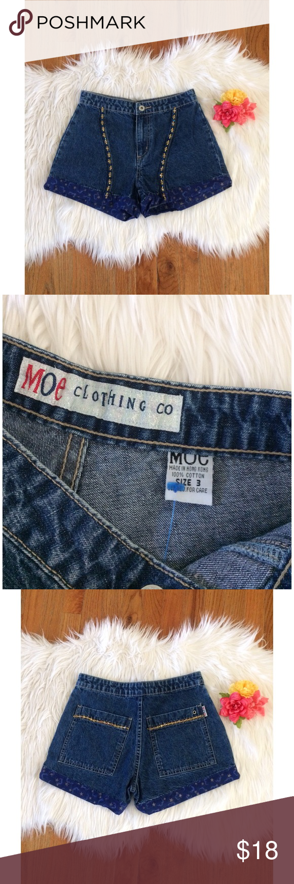 Vintage 90's Celestial High Mom Shorts 💫 Awesome pair of vintage early 90's high waisted shorts by Moe Clothing Co! Features a classic medium blue denim wash with a special celestial star and cloud hem! Has super unique beading down the front as well! Super flattering high waisted fit! One of a kind vintage piece! In great condition! Best fits a size 24/25 :)  Measurements: Waist- 12.5 inches flat across  Rise- About 10 inches  Hips- 19 inches flat across  Inseam- 3 inches Vintage Shorts…