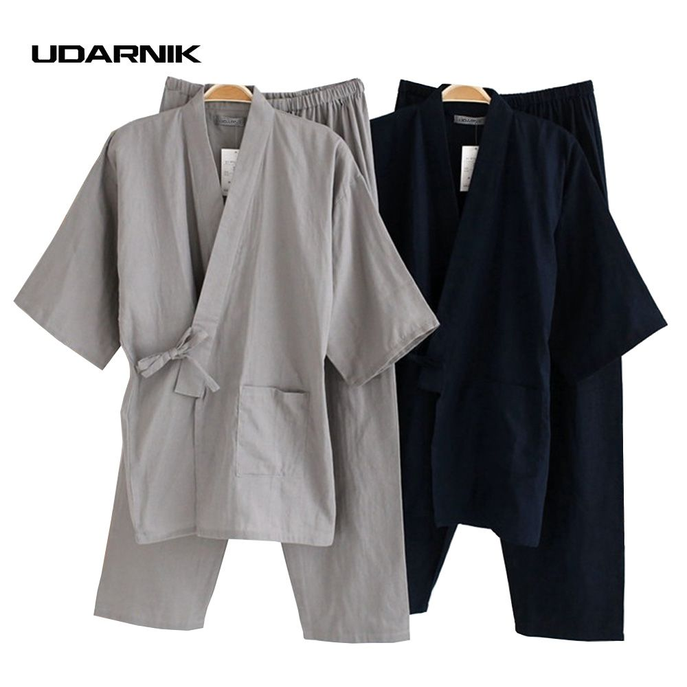 Men Cotton Kimono Pajamas Pants Set House Coat Bath Sleepwear Japanese  Nightwear 901-080 9b57e1c4b