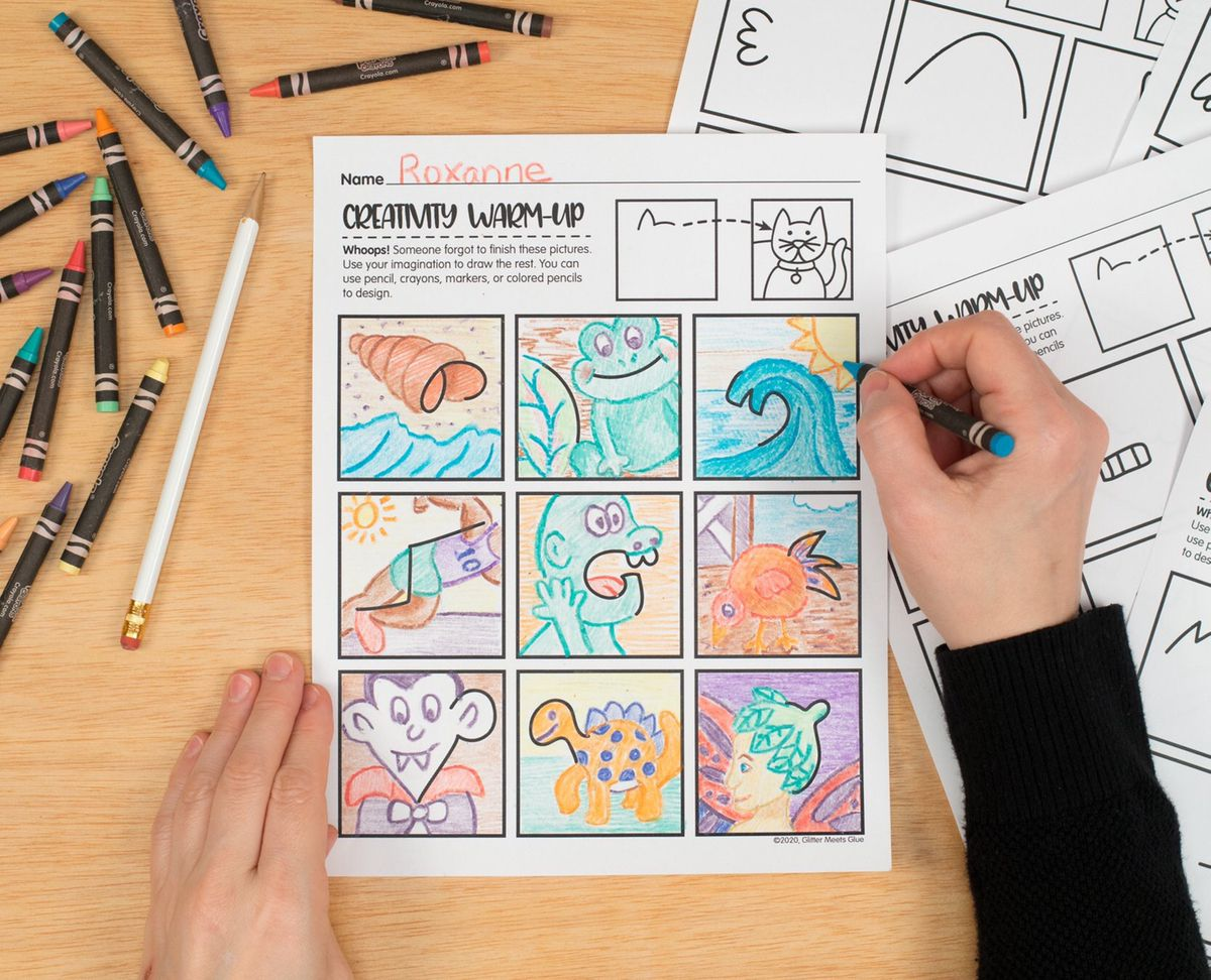 Creativity Warm Up Free Drawing Exercise Worksheets For