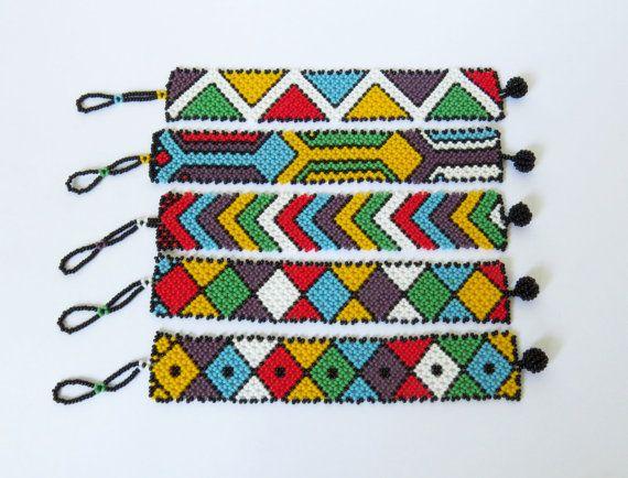 African Zulu beaded flat bracelet wide Multicolour
