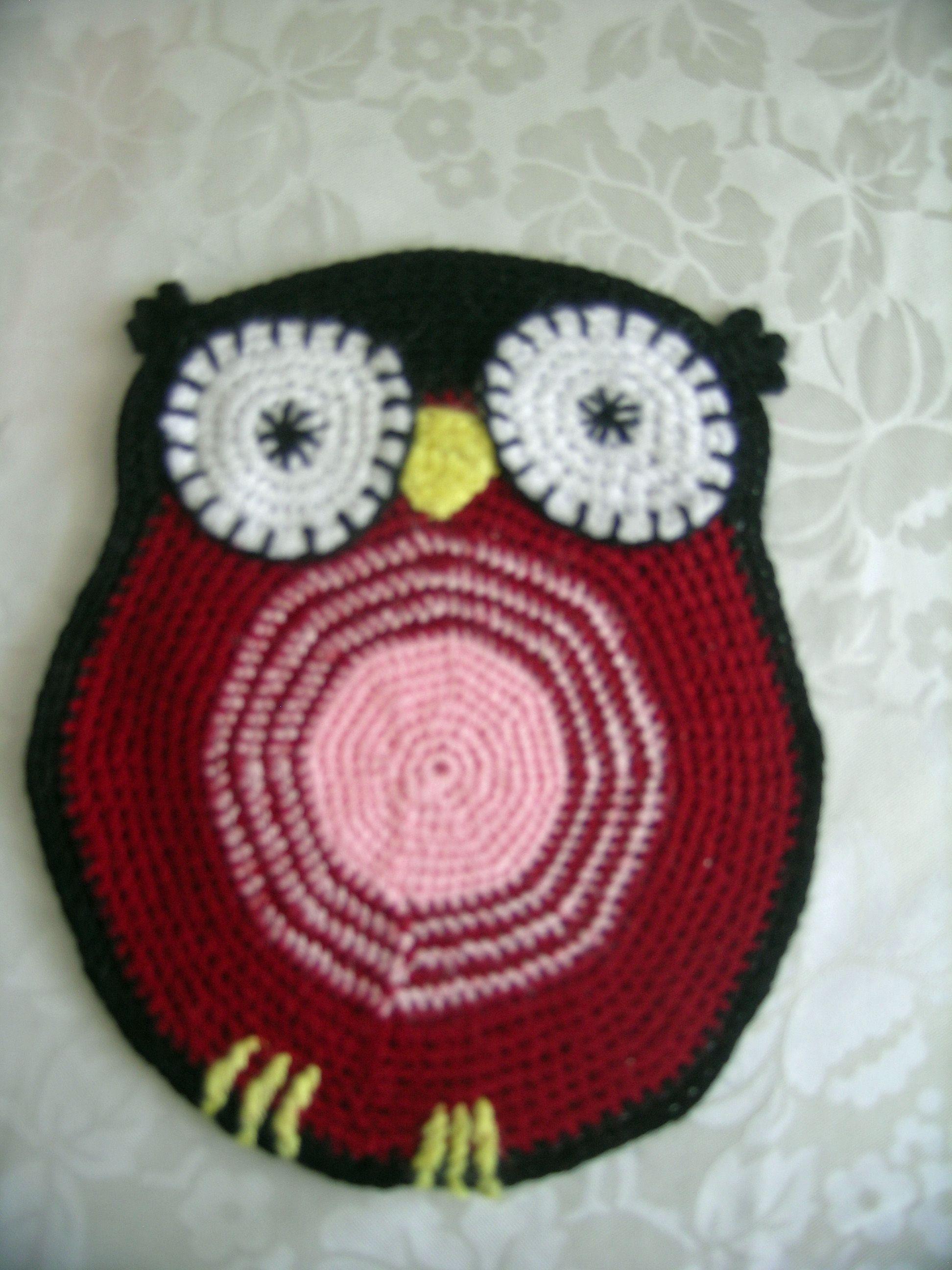 Crochet owl pot coasters - Häkel eulen Topf untersetzer -   original design */* Hippie - Bohemian - shabby - 18.5 cm x 15.5 cm crochet owl  -  you can use the owl pot coasters  or as an application ... 18,5 cm x 15,5 cm häkel eule  - Sie können die eule  als Topf untersetzer  verwendet oder als  Applikation zu bewerten .... Tığ işi 18.5 cm x 15,5 cm - Nihale olarak kullanabileceğiniz bir baykuş. Dilerseniz aplike oarak değerlendirebilirsiniz...