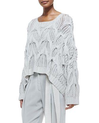 Donna Karan Cashmere Oversized Boat Neck Sweater Pleated Cuffed