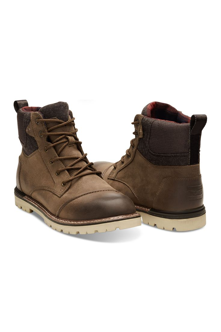ae7c980140f The waterproof TOMS Ashland Boots for men. Featured in brown burnished  leather with a wool upper