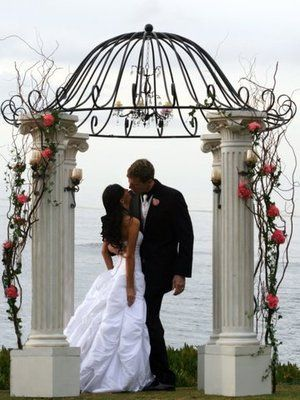 Outdoor Wedding Canopy Pergola Arbor White Pillars Wrought Iron