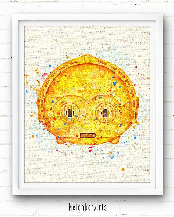 Star Wars Print C3po Print Tsum Tsum Print Watercolor