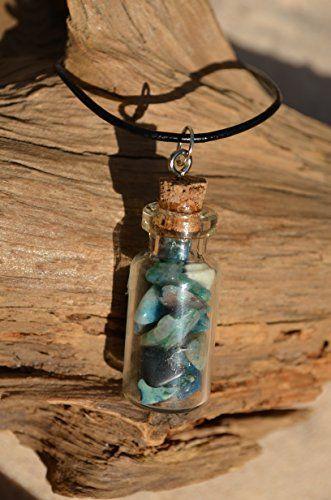 Brecciated Jasper Stones in a Glass Vial Necklace