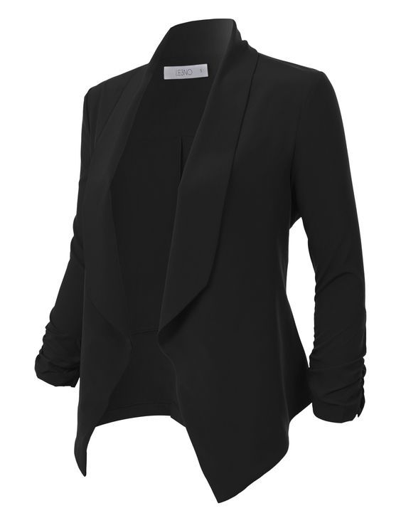 Photo of Lightweight Ruched 3/4 Sleeve Open Front Blazer Jacket