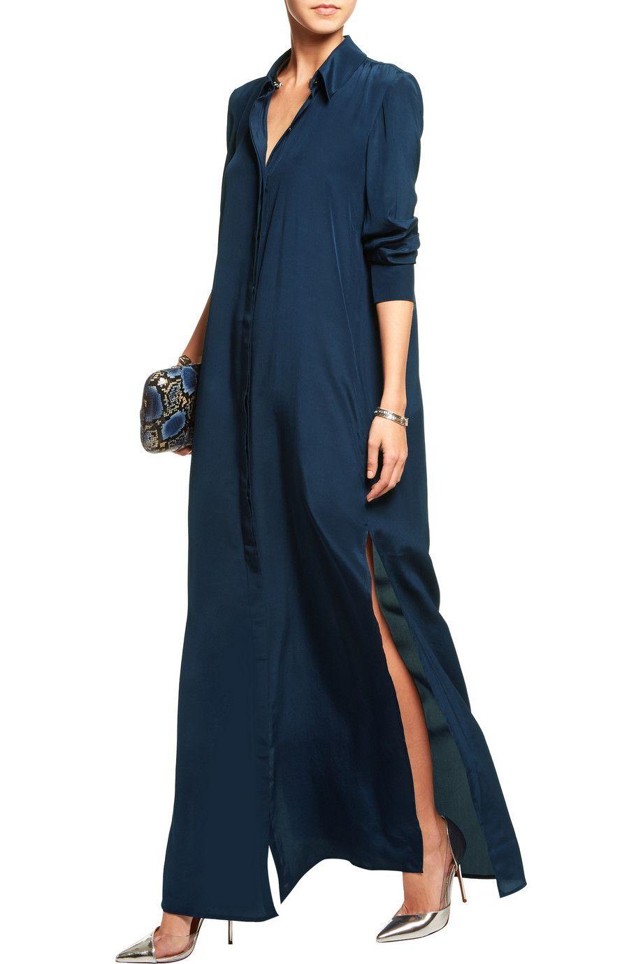 969fb8619c SaloniHolly silk-satin maxi shirt dressfront