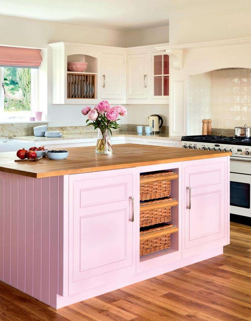 A Bright Kitchen With A Striking Colour Palette Kbhome Pink