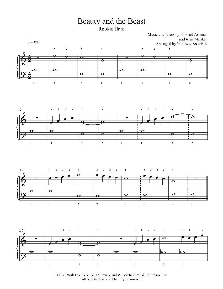 Beauty And The Beast By Howard Ashman Alan Menken Piano Sheet