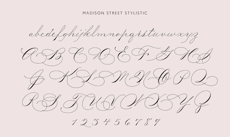 Pointed pen calligraphy font based on spencerian script