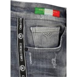 Photo of Jeans mit Used-Waschung und Logopiping, Grau Carlo Colucci