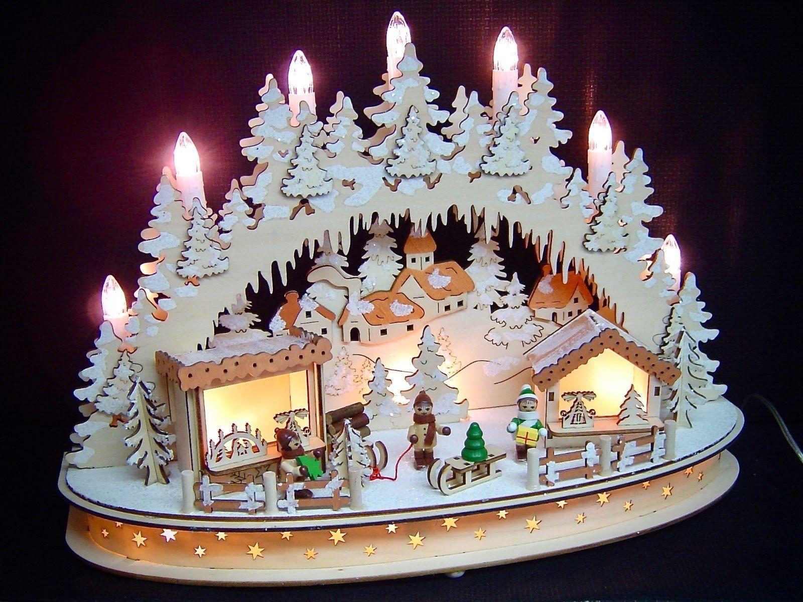 3d led lichterbogen schwibbogen weihnachtsmarkt 4 winterkinder 42 cm 10215 ebay schwibb gen - Holzarbeiten weihnachten ...