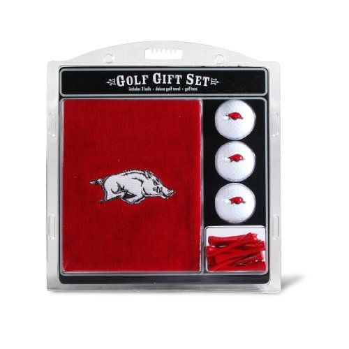 NCAA Arkansas  Embroidered Team Golf Towel Gift Set by Team Golf. $19.99. Tee off with your favorite collegiate team with this officially licensed NCAA® towel gift set from Team Golf! The set includes a 16-in x 26-in tri-fold embroidered towel, 3 golf balls, and 12 tees.