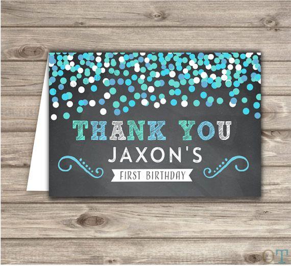 Confetti Boy Birthday Thank You Cards