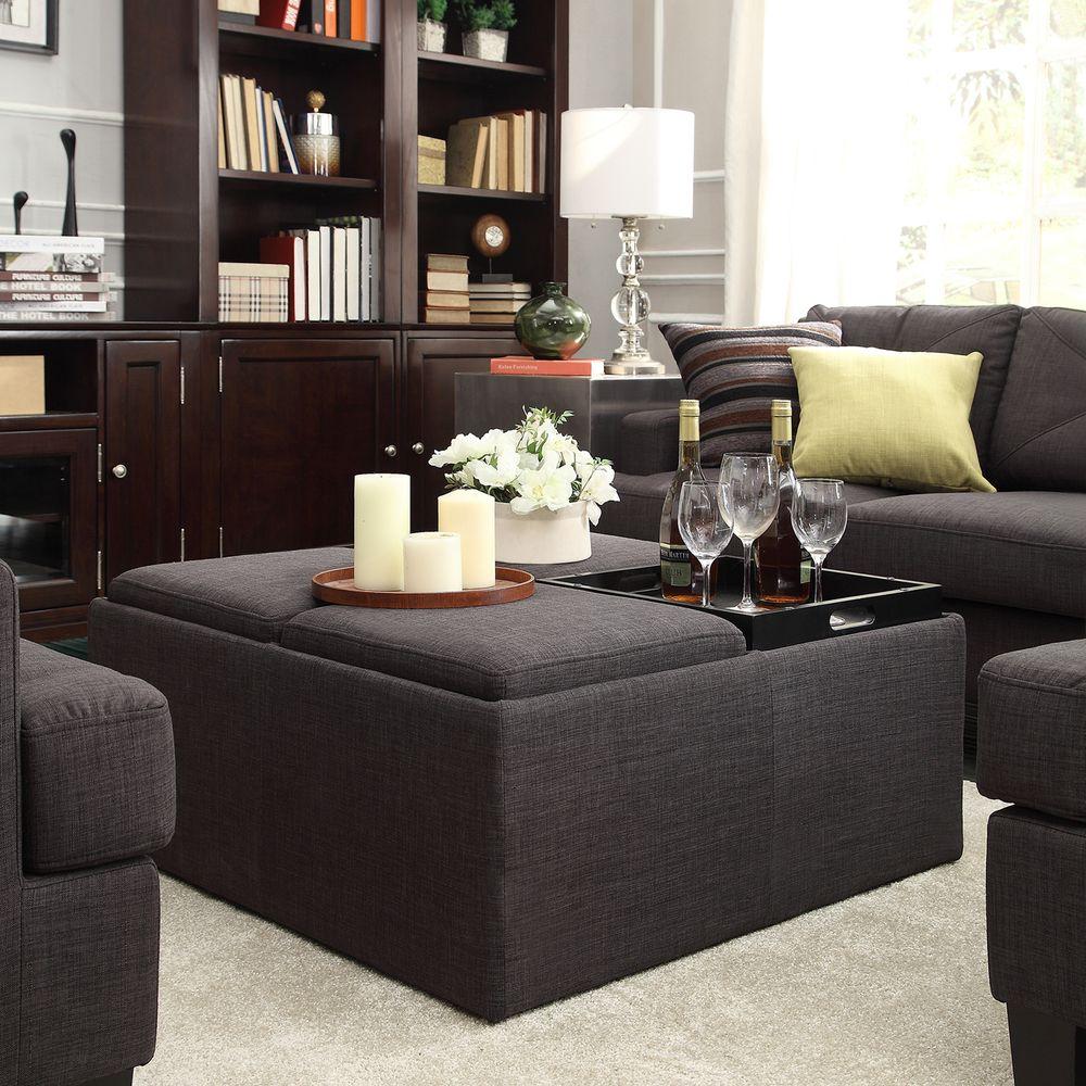 Inspire Q Avenue Ebony Linen Tray Top Storage Cocktail Ottoman