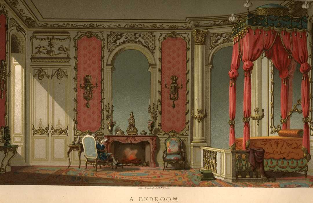 A Chromolithograph Of An Upper Class French 18th Century