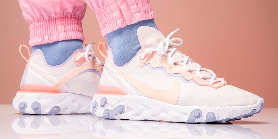 An On Foot Look At Nike S Pink React Element 55 Pink Sneakers