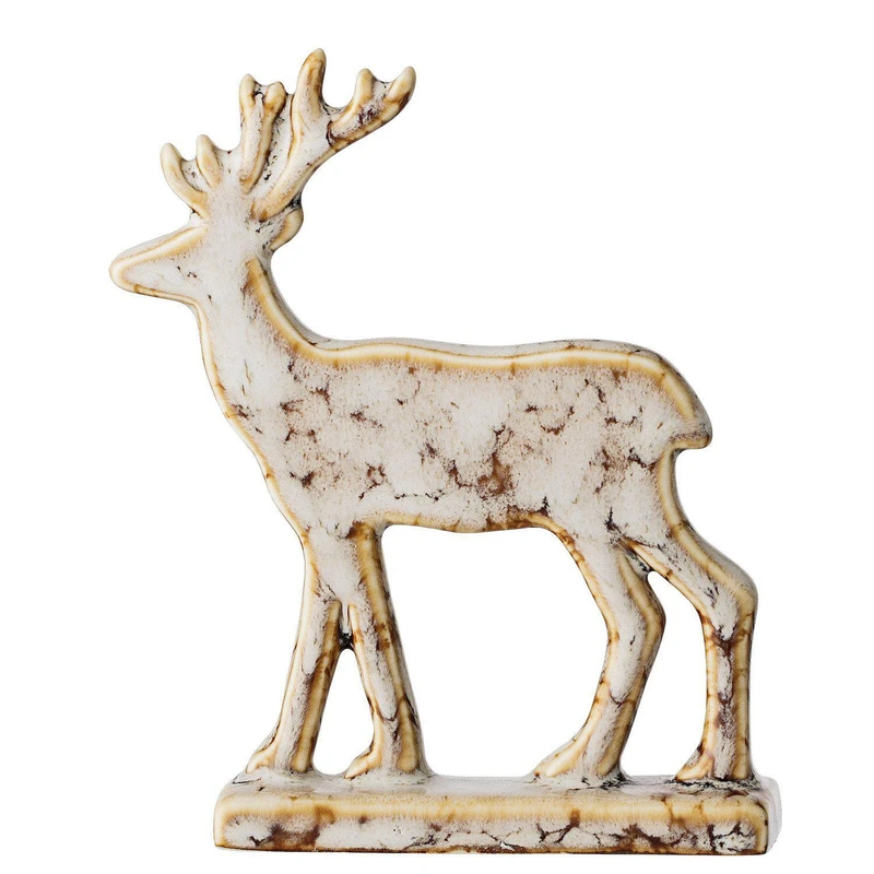 Natural Ceramic Reindeer Ornament In 2020 Reindeer Ornaments Christmas Scandinavian Style Reindeer