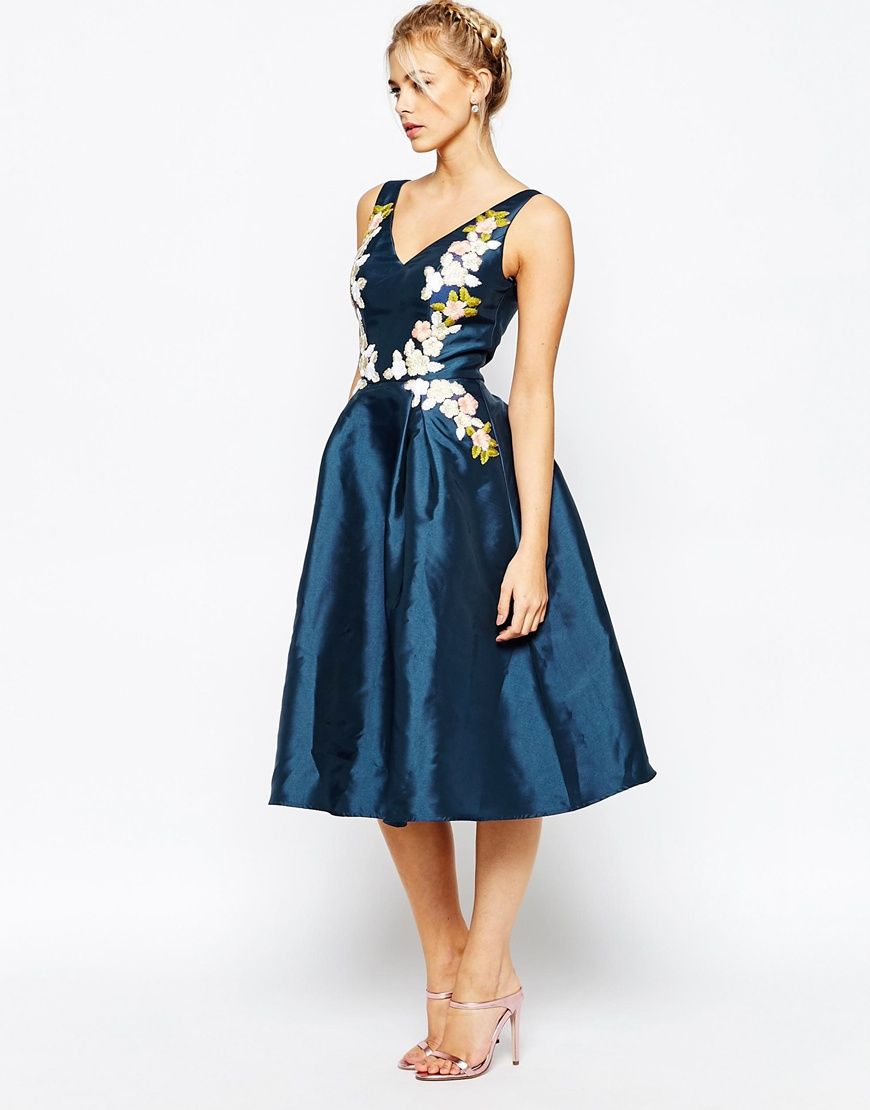 Mother of the bride dresses afternoon wedding  Image  of Chi Chi London Full prom Midi Dress with Embrodery at